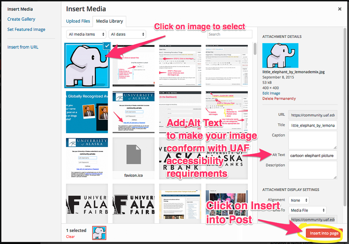 image describing how to upload an image in WordPress