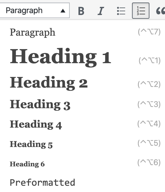 screenshot showing heading paragraph structure html